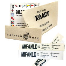 Wholesale Custom Clothes Brand Logo Printed Cotton Fabric Cloth Care Size Label Tag for Clothing