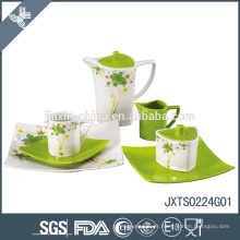 Jogo de chá da porcelana 24pcs, jogo de jantar colorido com decalque da flor