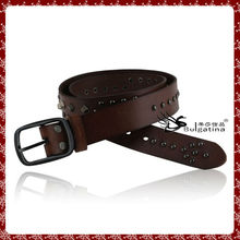 Mens unique leather belt,latest design leather belt with metal charm