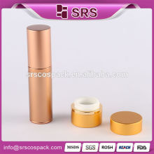 China Manufacture Cosmetic Container 15ml 30ml 50ml 80ml Golden Round Aluminum Bottle Manufacturer