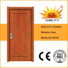 Cherry Wood Flush Design Cheap Wooden Door (SC-W109)