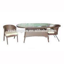 1 + 2 Ensembles de table et de chaises en verre trempé en rotin extérieur