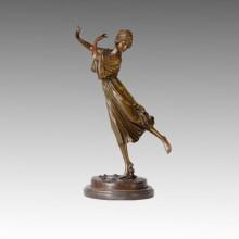 Dancer Statue Spring Female Bronze Sculpture, P. Philippe TPE-322