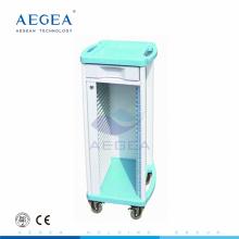 AG-CHT004 Hileras de plástico moderno del hospital solo filas registran la carretilla médica del archivo del paciente del almacenamiento