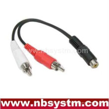 1 jack RCA hembra a 2 x enchufe RCA macho Cable divisor Y