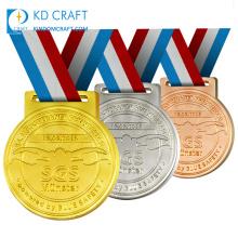 Free design bulk cheap custom metal embossed 3D gold silver copper plated winner award swimming sports medal for kids