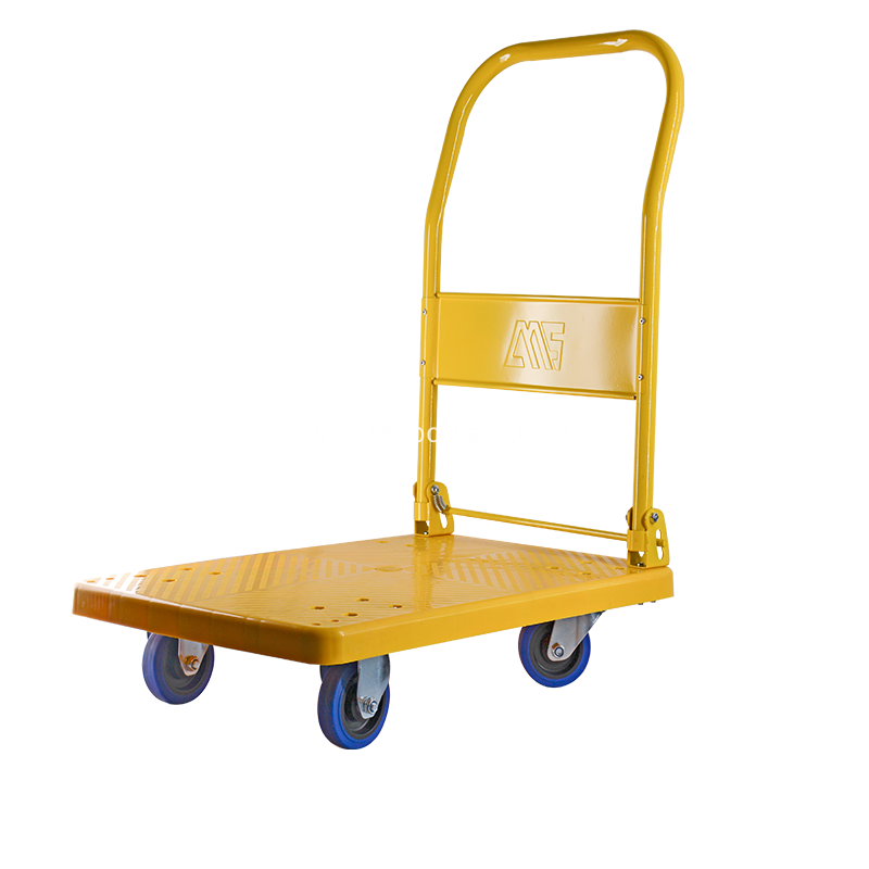 Yellow Trolley With Rubber Wheels