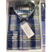 Camisa de manga larga de tela escocesa teñida con hilo de algodón