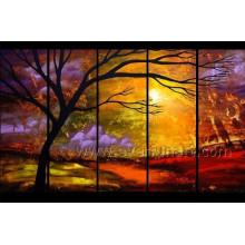 Pintura a óleo da paisagem de 5 painéis