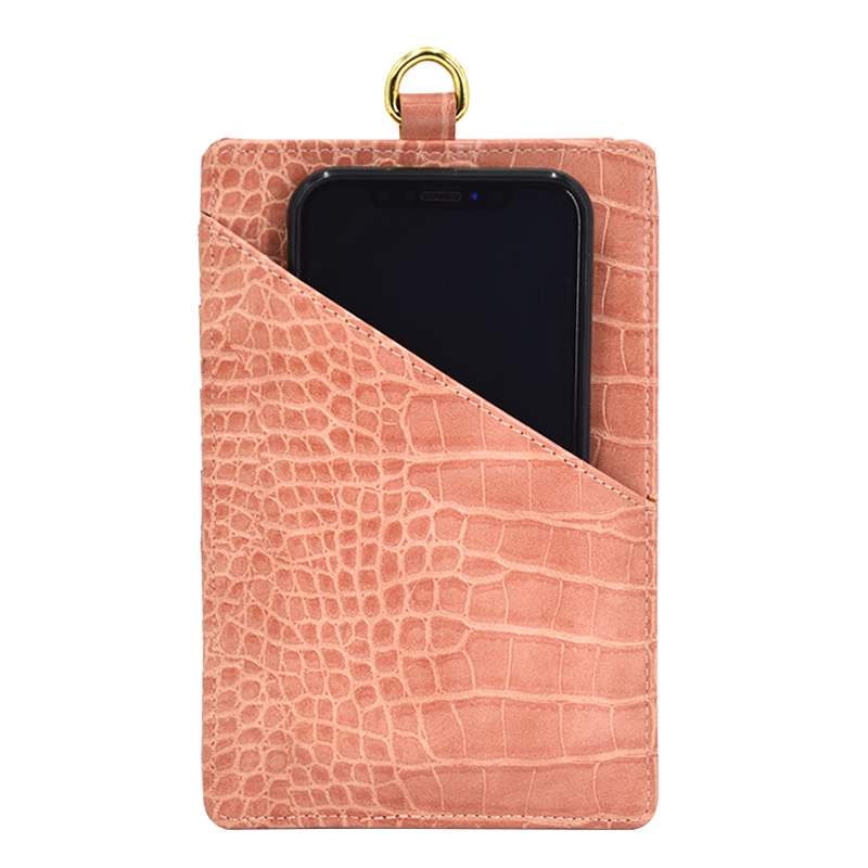 Crocodile Texture Lanyard Card Wallet Leather Card Holder