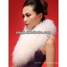 col en fourrure de couleur naturelle pour veste avec doublure