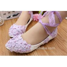 Dentelle pourpre avec chaussures plates de demoiselle d'honneur en cuir blanc PU en cuir et chaussures simples d'été sur les chaussures de mariée WS024