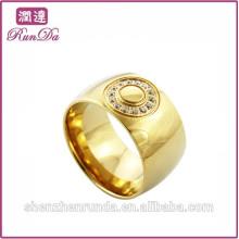 Mens quentes do ouro da venda com anel do aço inoxidável do diamante