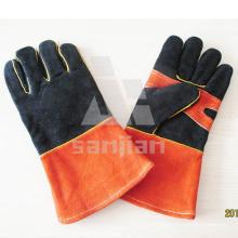 Double Palm Schwarz Orange Leder Ab / Bc Grade Schweißschutzhandschuh