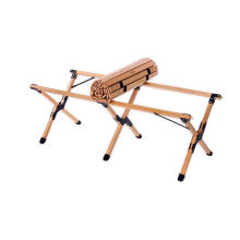 Mesa de madera rodante portátil de bambú para acampar al aire libre