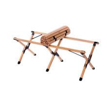 Mesa de bambu portátil para acampamento ao ar livre com rodinhas