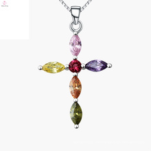 Großhandel 925 Sterling Silber Kreuz Kristall Anhänger Halskette Schmuck