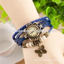 Trendy design retro multilayer leather ladies wrist watch