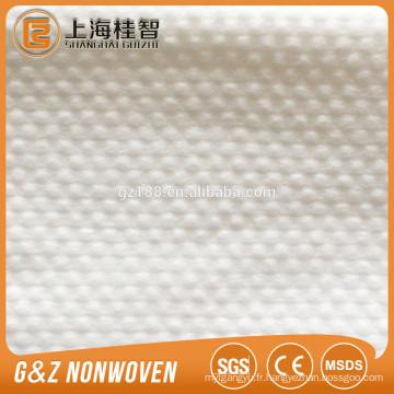 Tissu non-tissé tissé non-tissé de spunlace de 100% de tissu de viscose essuie le tissu non-tissé gaufré de petit point