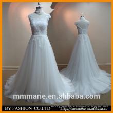 2016 Neue Art schöne Spitze-Hochzeits-Kleid-Portrait öffnen sich zurück Sweep Zug-Elfenbein 2014 späteste Brauthochzeitskleider