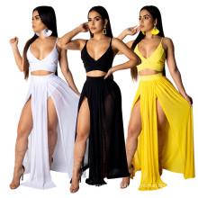 C6159 2020 new arrivals Chiffon 2020 women two piece set summer 2020 women two pieces skirt set