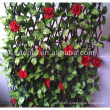 2014 Новый сад декоративные искусственные листья забор с красной розой