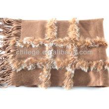 wraps de pashmina décoratifs en fourrure de cachemire