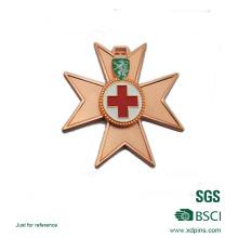 Zinc Alloy Soft Enamel Cross Logo Copper Plated Medal