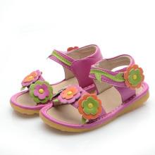 Hot Pink Corlorful Blumen Baby Quietschen Sandalen