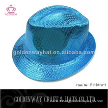 Blue Sequin Fedora Hat F1194-C satin shine blue party hats fedora hats for wholesale