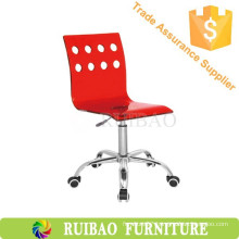 Red Acrylic Chair with Wheels Kitchen Breakfast Chair Gas Lift