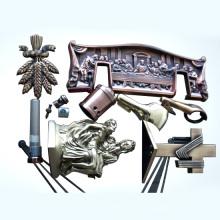 Caixão peças com fundição de zinco, moldagem por injeção ou estampagem, cobre antigo ou latão chapeamento
