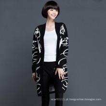 Senhora fashion viscose malha camisola cardigan de inverno (yky2055)