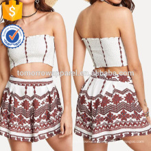 Pleated Tube Top With Print Shorts Manufacture Wholesale Fashion Women Apparel (TA4091SS)