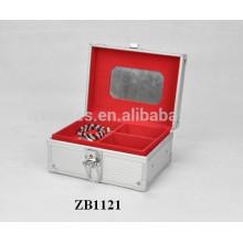 Nova caixa de joias de alumínio com pele de painel ABS e uma bandeja removível para dentro
