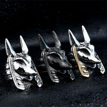 Anello da uomo Stianlees Steel Classic Head Of Anubis