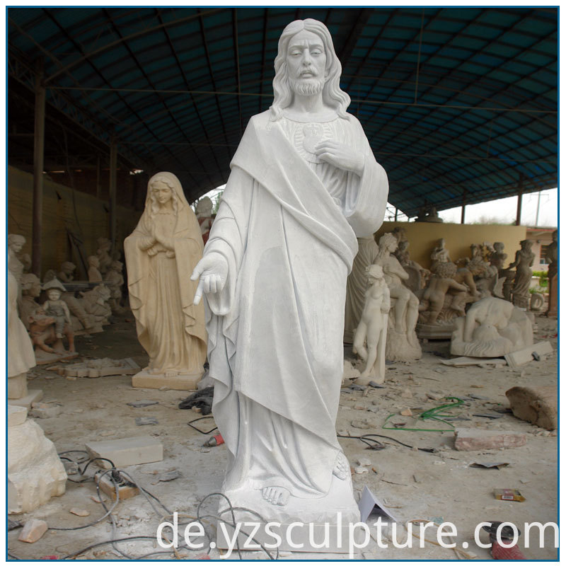 Outdoor-Life-Size-Cathlic-White-Marble-Jesus