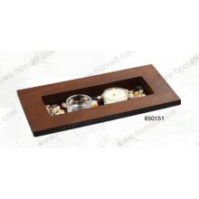 New Wooden Tray with Candle and Stone