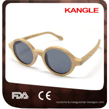 grey color lens round skaterboard wood sunglasses