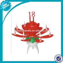 Chrysanthemum música Rotación de la vela de torta de cumpleaños, fábrica directamente + 0086 18233103825