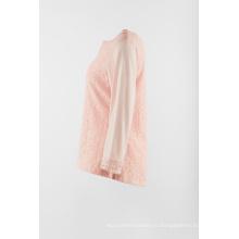 Длинный рукав с кружевом спереди в цвете розовый