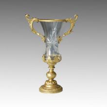 Estatua de jarrón de cristal maneja la escultura de bronce Tpgp-005