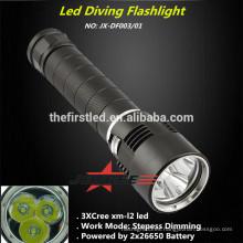 Jexree aleación de aluminio recargable cree xm-l2 llevó la luz de buceo
