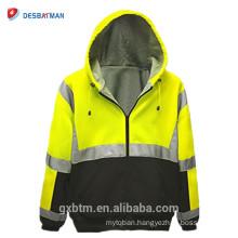 Hot Selling Wholesale ANSI 107 Class 3 2-Tone Safety Hoodie Full Zip Hi Vis Hooded Sweatshirt