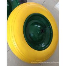 Roda PU de alta qualidade com tampas de eixo e plástico