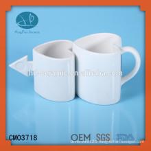 white ceramic heart shaped couples coffee mug,ceramic mug, heart shaped Ceramic mug supplier
