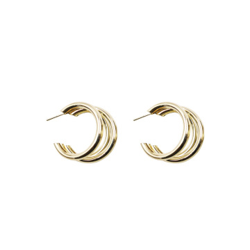 simple stylish Glossy Gold Plated Stud Earrings
