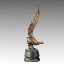 Animal Chicken Statue The Long Tail Golden Pheasant Bronze Sculpture Tpal-265