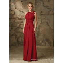 Red Chiffon Halter A Line Floor Length Bridesmaid Evening Gown