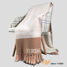 Australian Wool Jacquard Tassels Design Knitting Blanket